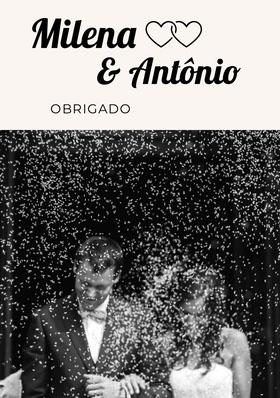black and white photo wedding thank you cards  Cartão de agradecimento