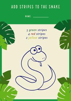 Green Snake Stripes Worksheet Kids