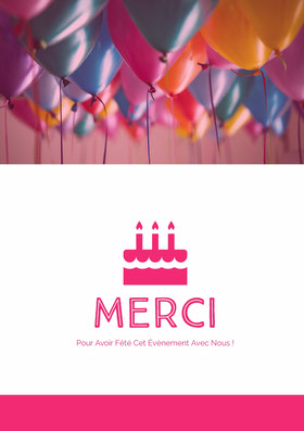 birthday thank you cards  Carte de remerciement