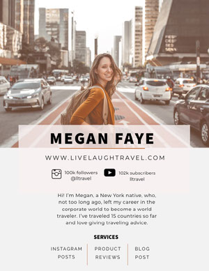 Travel Blogger Media Kit with Smiling Woman in City Kit per i media