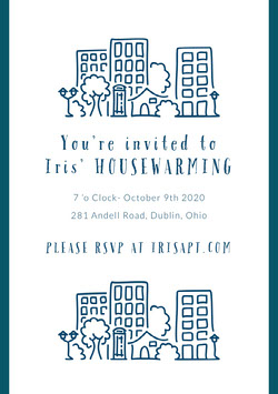 Blue and White Housewarming Party Invitation Housewarming Invitation