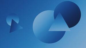 Blue Gradient 3D Geometric Shapes Zoom Background Bannière