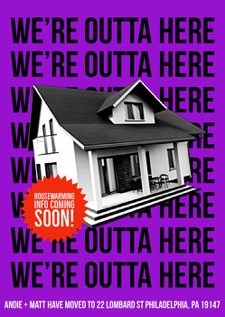 Purple Modern Change of Address Card  Housewarming Invitation