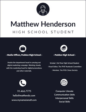 Black and White High School Student Resume Professional Resume