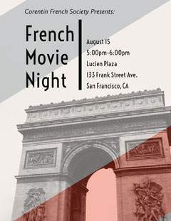 French Movie Night  Night Club Flyer