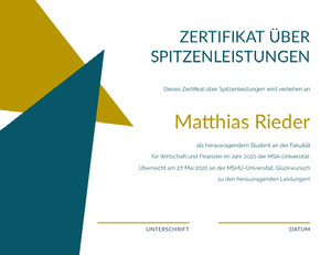 Matthias Rieder Zertifikat