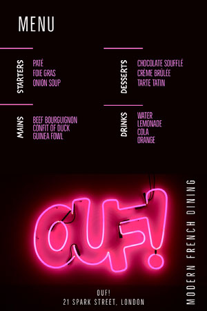 Black and Pink Bar Menu Menü