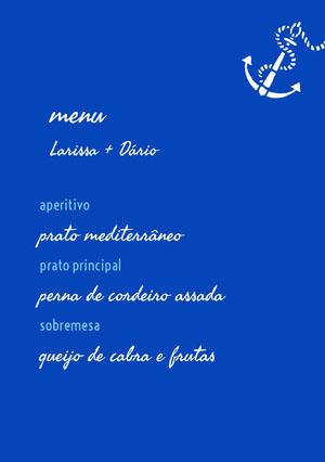 blue wedding menu Menu