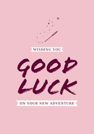 Pink and White Wishing Card Good Luck Card