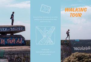 Blue Walking Tour Brochure Travel Brochure