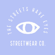 Purple and Grey The Streets Have Eyes Streetwear Logo Square Logo