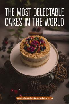 Cakes Around the World Pinterest Graphic with Photo Dessert