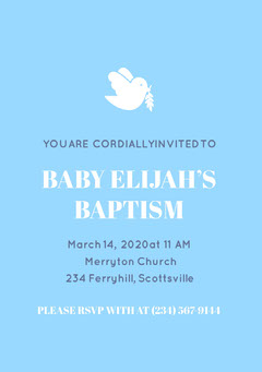 Blue and White Baptism Invitation Baptism