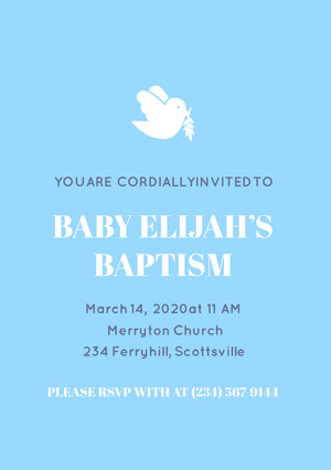 Blue and White Baptism Invitation Invitation de baptême