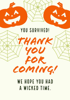 Halloween Kid Spooky Party Thank You Card  Halloween Party Thank you Card