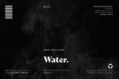 Black and White, Water Bottle Packaging, Label Water