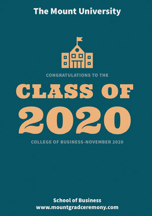 Blue and Orange Business University Graduation Announcement Card Graduation Announcement