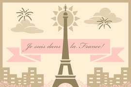 Beige and Pink Illustrated Paris France Travel Postcard with Eiffel Tower Postal