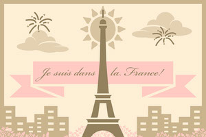 Beige and Pink Illustrated Paris France Travel Postcard with Eiffel Tower Rejsepostkort