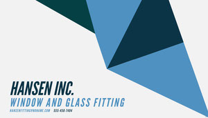 Blue Modern Geometric Window and Glass Fitting Company Business Card  Tarjeta de visita