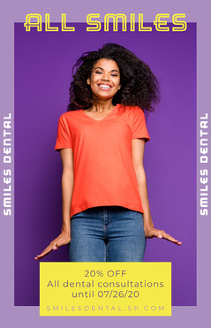 Purple All Smiles Dental Offer Poster Dentist