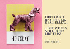 Pink, Light Toned Birthday Wishes Card Dog Flyer