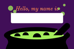 Green, Purple and Black, Halloween Party Name Card Halloween Party Name Tag