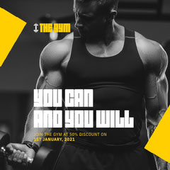 Black and Yellow Gym Instagram Square Exercises