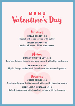 Valentine's Day Menu Valentine's Day