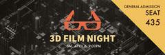Black and Orange 3D Film Night Ticket Movie Night Flyer