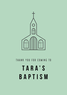 Tara's Baptism Thank You Card