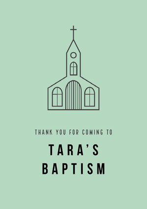 Black and Green Thank You Card Baptism Thank You Card