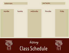 Beige and Brown Weekly History Class School Schedule History