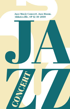 Blue and White Jazz Concert Poster Jazz