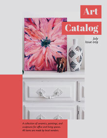 Red and White Art Catalog Front Page with Painting Magazine Cover