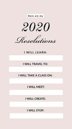 Pink and White New Year Resolution List Instgaram Story New Year