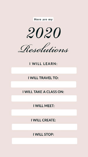 Pink and White New Year Resolution List Instgaram Story Happy New Year