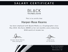 White and Black Salary Certificate Tax Flyer