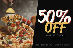 Black with Pizza Image 50% Off Voucher Landscape  Pizza