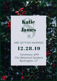 White and Green Wedding Invitation  Christmas Invitation