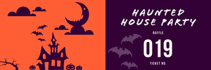 Purple and Orange Haunted House Halloween Party Raffle Ticket Boleto de sorteo