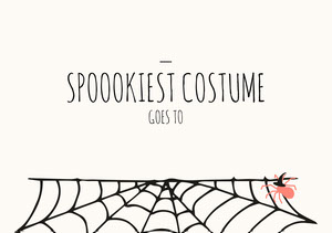 Spider and Cobweb Halloween Party Best Costume Card Halloween Party