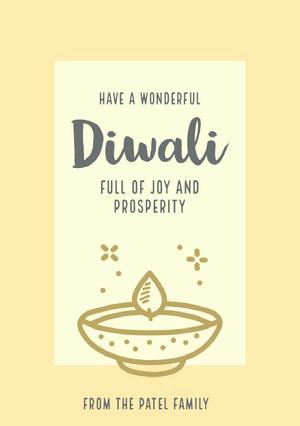 Light Toned, Beige and Grey Happy Diwali Wishes Card Diwali