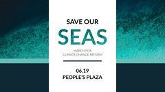 Blue and WHite Save Our Seas Action Promotion Climate Change Posters