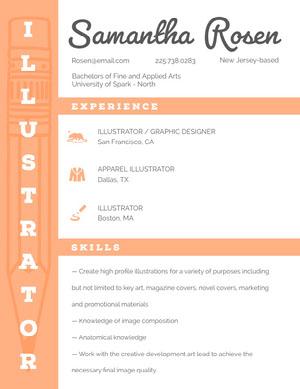 Orange Graphic Designer and Illustrator Resume CV