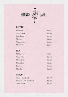 White and Pink, Light Toned, Coffee Shop Menu Coffee Menu
