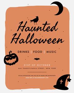 Black and Orange, Spooky, Halloween Party, Invitation Card Halloween Party Invitation