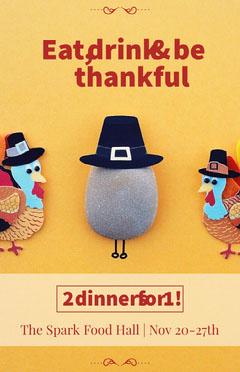 Yellow Illustrated Thanksgiving Restaurant Dinner Ad Flyer Thanksgiving