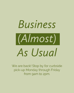Green Minimal Business Reopening Announcement Instagram Portrait Graphic COVID-19 Re-opening