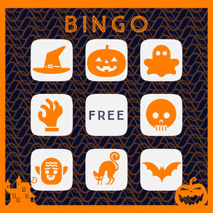Orange Spooky Halloween Party Bingo Card ビンゴカード
